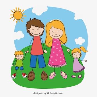 Familia en estilo dibujado a mano