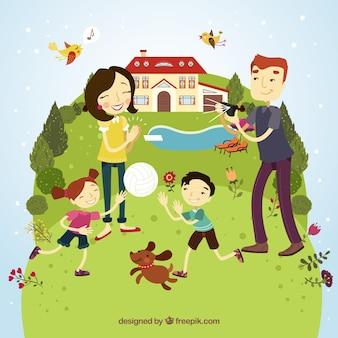 Familia feliz que se divierte