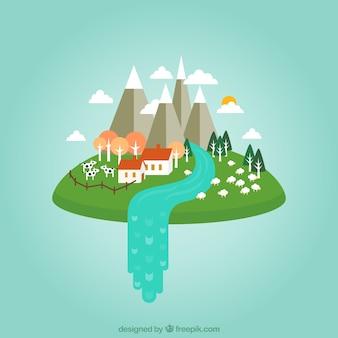Casa de campo en las nubes