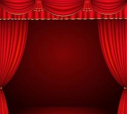 Fase de color rojo oscuro con cortinas vector