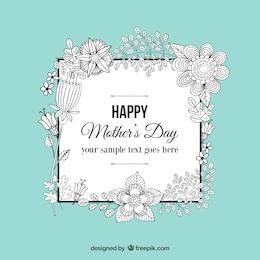 Felicitación de garabatos florales para el día de la madre