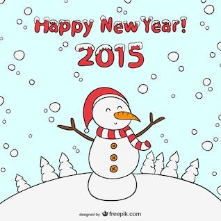 Feliz 2015 con muñeco de nieve