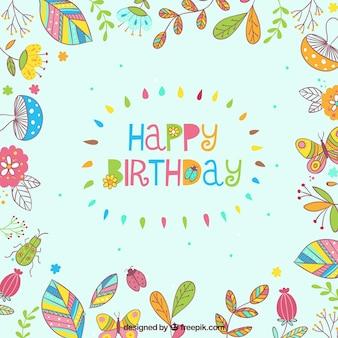 Feliz cumpleaños, marco floral