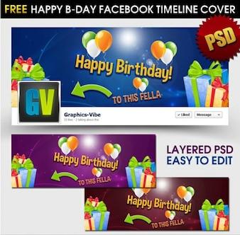 feliz cumpleaños facebook línea de tiempo cubierta psd
