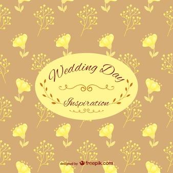Felíz día de la boda con patrón estampado de flores