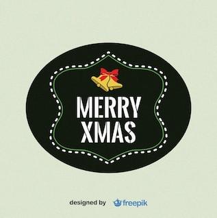 Feliz Navidad etiqueta con campanas en la parte superior