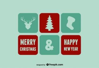 Feliz navidad y feliz año nuevo íconos y sellos