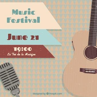 Festival de música cartel con una guitarra