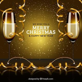 Fiesta de año nuevo con vasos de champán