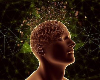 Figura masculina 3d con cerebro pixelado que representa problemas de salud mental