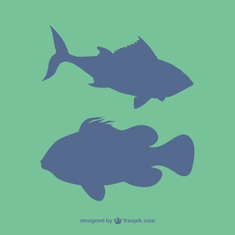 Vector gratuito siluetas de peces