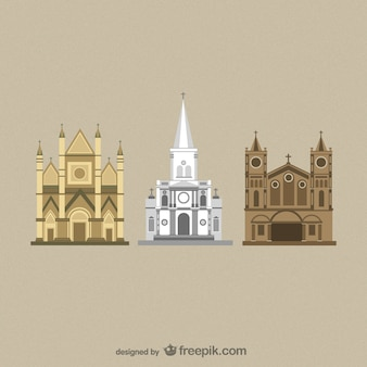 Vectores de catedrales de diseño plano