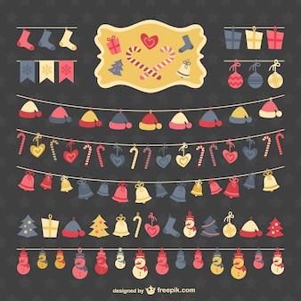 Colección de guirnaldas de Navidad estilo plano