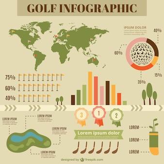 Infografía plana de golf