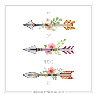 Flechas florales pintadas a mano