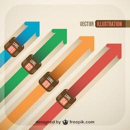 Flechas rectas de colores
