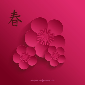 Flor de cerezo en tonos rosados oscuros