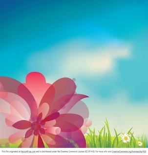 Flor fresca con el cielo azul