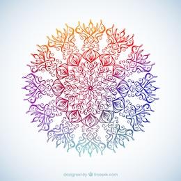 Flor ornamental en el estilo colorido