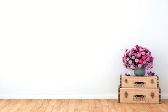 Flor sobre maletas