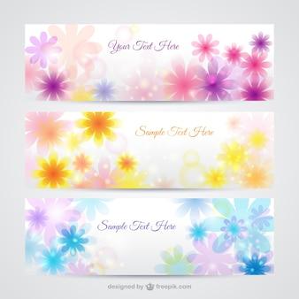 Banners florales en estilo primaveral