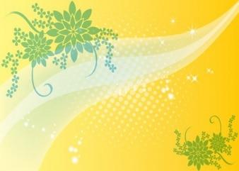 Floral de fondo amarillo con el tono medio