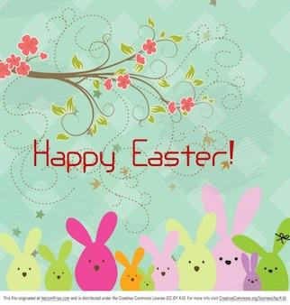 Fondo floral Pascua feliz con conejos