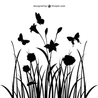 Siluetas de plantas y mariposas