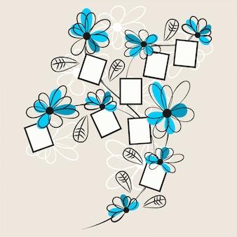 Dibujo floral de polaroid