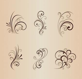 Remolinos florales elementos de diseño