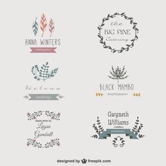 Pack de vectores gratuitos de logos florales