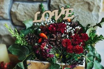 Florero con el mensaje  love