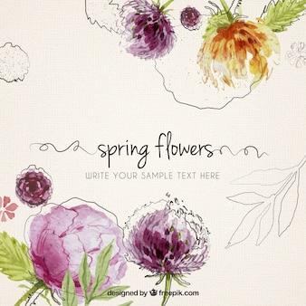 Flores de primavera pintados a mano de fondo
