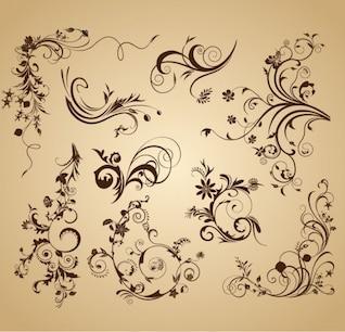 Flores del vintage gráficos vectoriales de diseño