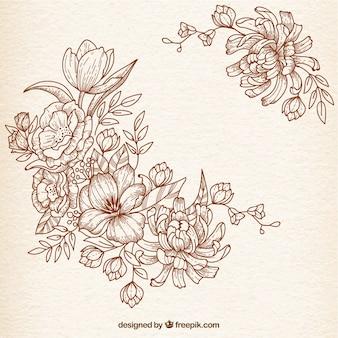 Flores drenadas mano en estilo retro