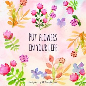 Flores pintadas a mano de fondo