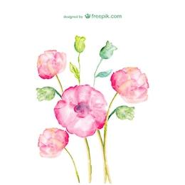 Flores rosas y verdes en acuarela