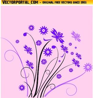 Flores silvestres de color violeta con remolinos vector
