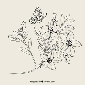 Flores y mariposas en blanco y negro