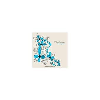 Diseño floral con trazos azules