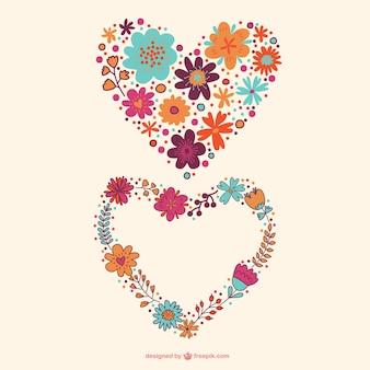 Vectores de corazones florales