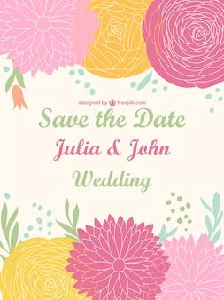 Invitación de boda con flores de colores