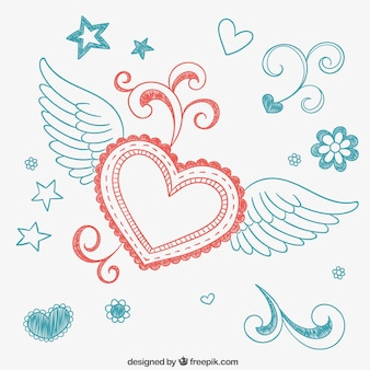 Dibujo de corazón alado con adornos