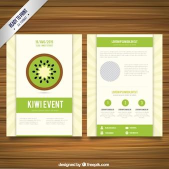 Folleto con rebanada de kiwi