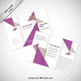 Folleto con triángulos púrpuras y grises