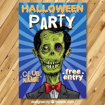 Folleto de fiesta de Halloween con un zombi esbozado