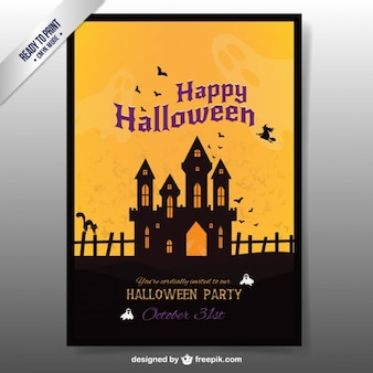Folleto de Halloween con una casa encantada