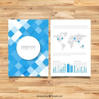 Folleto de negocio con el mapa mundial