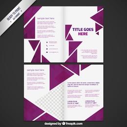 Folleto de negocios con triángulos de color púrpura