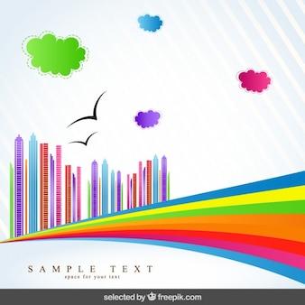 Fondo abstracto con ciudad colorida